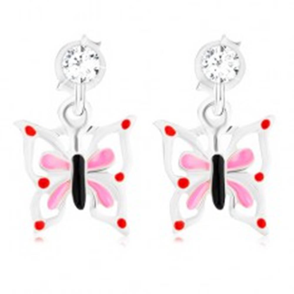 Šperky eshop Strieborné 925 náušnice, glazúrovaný motýľ s bielo-ružovými krídlami, krištáľ