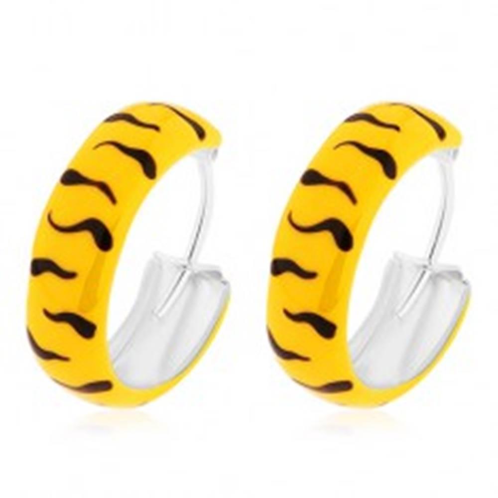 Šperky eshop Strieborné náušnice 925 - obruče, glazúra v žltej farbe s čiernymi vlnkami, 14 mm