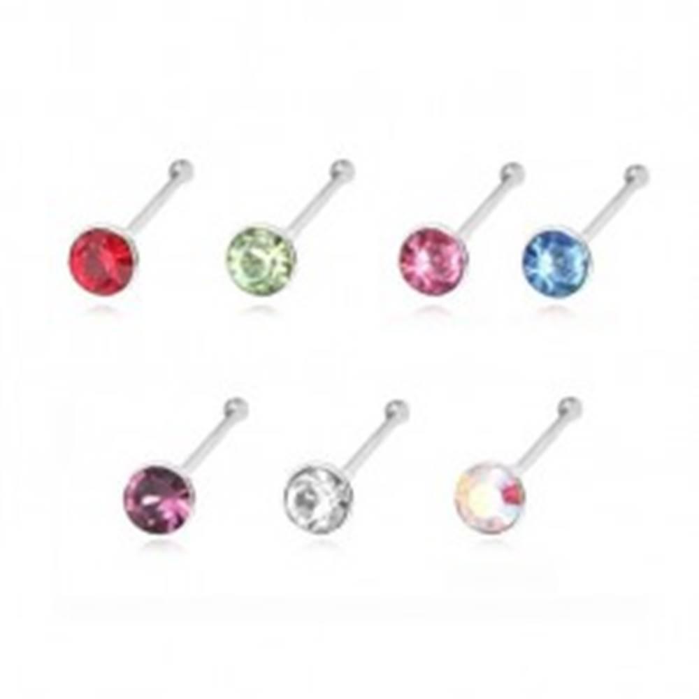Šperky eshop Strieborný 925 piercing do nosa ukončený guličkou a okrúhlym zirkónom, 1,8 mm - Farba zirkónu: Červená - R