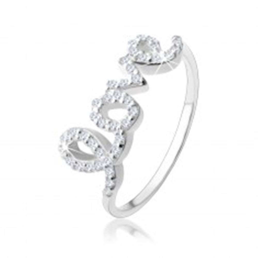 """Šperky eshop Strieborný 925 prsteň, nápis """"love"""" vykladaný čírymi zirkónikmi - Veľkosť: 49 mm"""