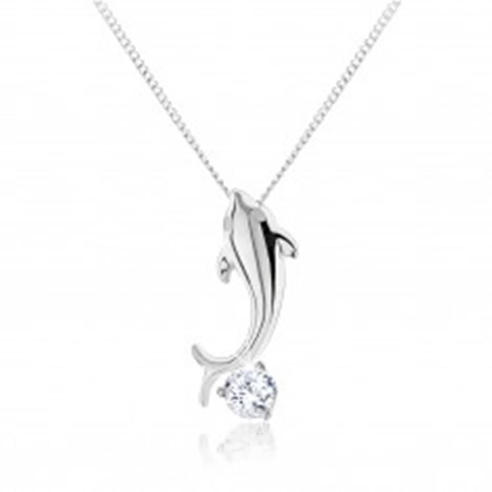 Šperky eshop Strieborný náhrdelník 925, lesklý malý delfín, brúsený zirkón čírej farby
