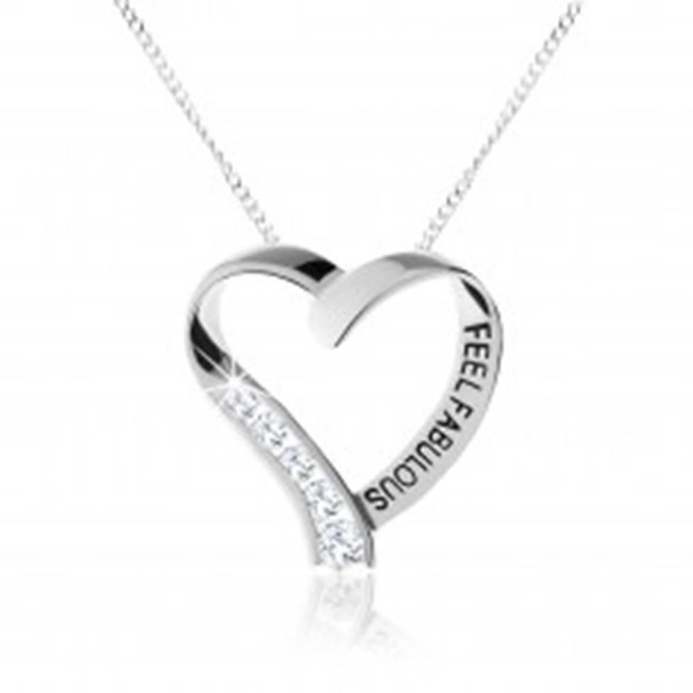 Šperky eshop Strieborný náhrdelník 925, ligotavá kontúra srdiečka, číre zirkóny, nápis
