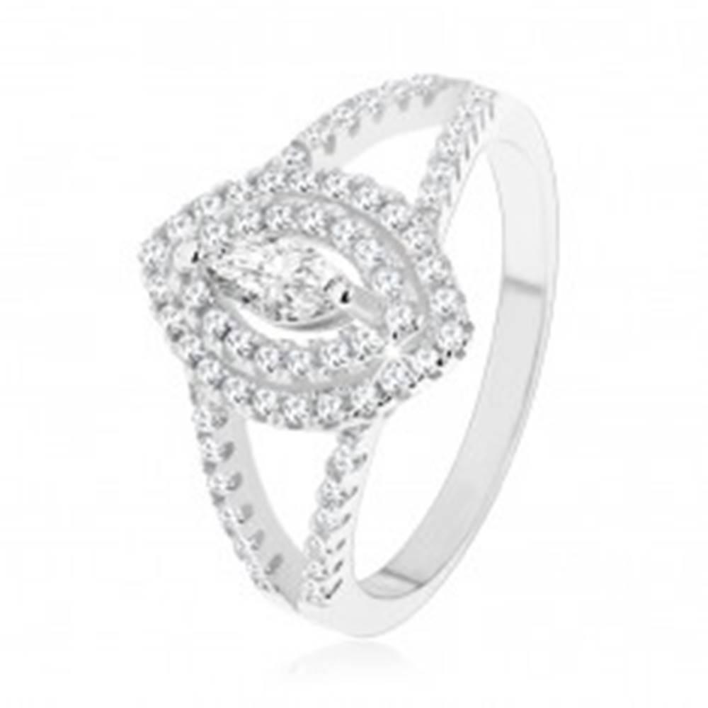 Šperky eshop Strieborný prsteň 925, číry zrnkový zirkón s dvojitým lemom - Veľkosť: 49 mm