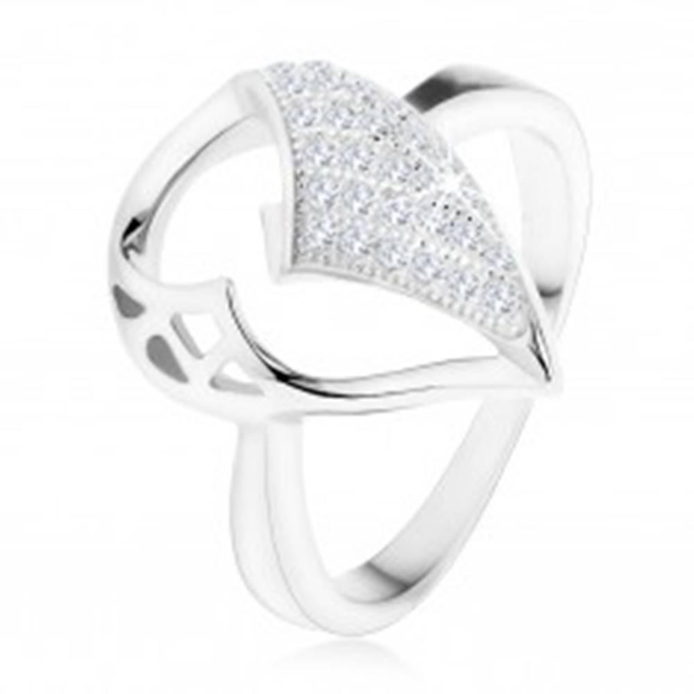 Šperky eshop Strieborný prsteň 925, veľká slza s asymetrickým výrezom, zirkónová časť - Veľkosť: 49 mm