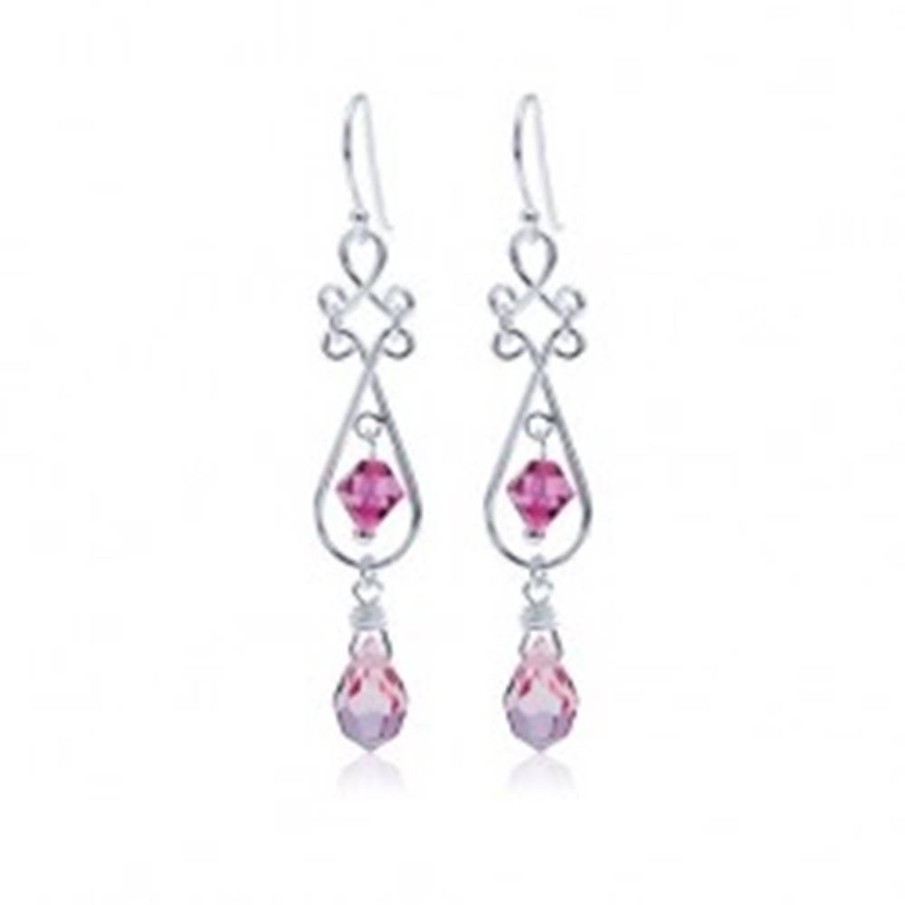 Šperky eshop Visiace náušnice zo striebra 925, ružové kryštály, obrys slzy