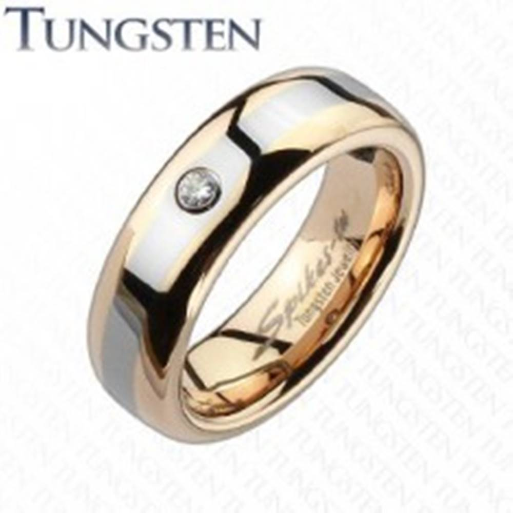 Šperky eshop Wolfrámová obrúčka medenej farby, sivý pruh, zirkón - Veľkosť: 49 mm