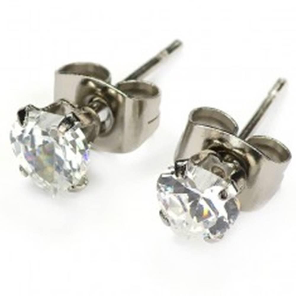 Šperky eshop Zirkónové náušnice - číre srdiečko - Veľkosť zirkónu: 4mm