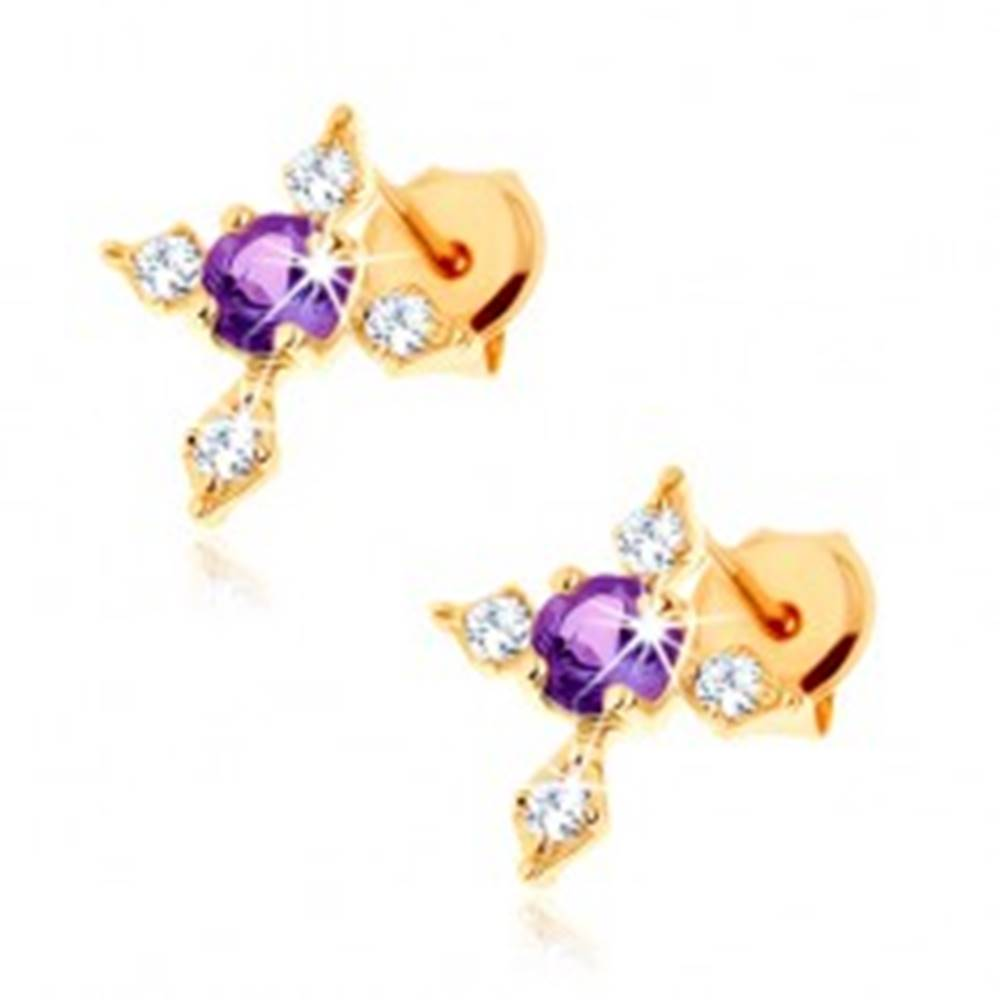 Šperky eshop Zlaté náušnice 375 - fialový ametyst, kríž so zirkónovými ramenami čírej farby