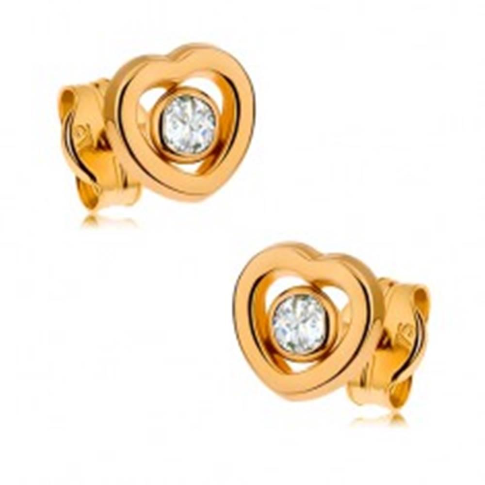 Šperky eshop Zlaté náušnice 375 - kontúra symetrického srdiečka, číry zirkón uprostred