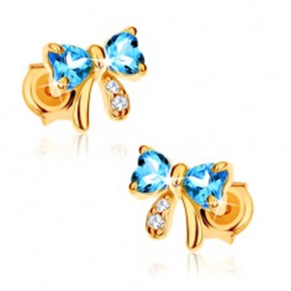 Šperky eshop Zlaté náušnice 375 - modrá topásová mašlička, číre zirkóny