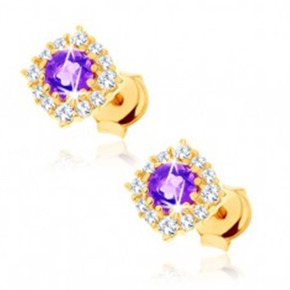 Šperky eshop Zlaté náušnice 375 - okrúhly fialový ametyst s čírou zirkónovu obrubou