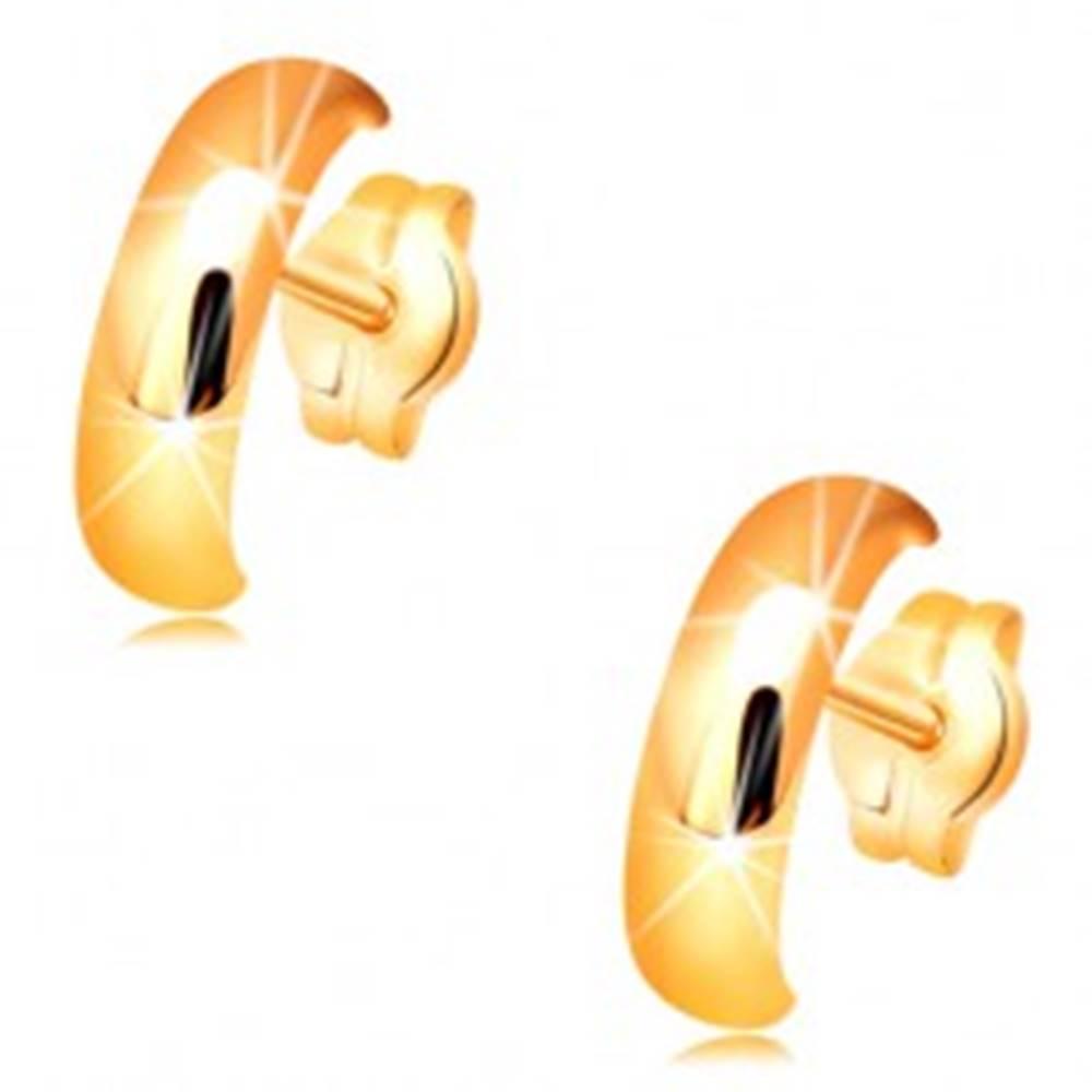 Šperky eshop Zlaté náušnice 585 - lesklé hladké polkruhy s vypuklým povrchom
