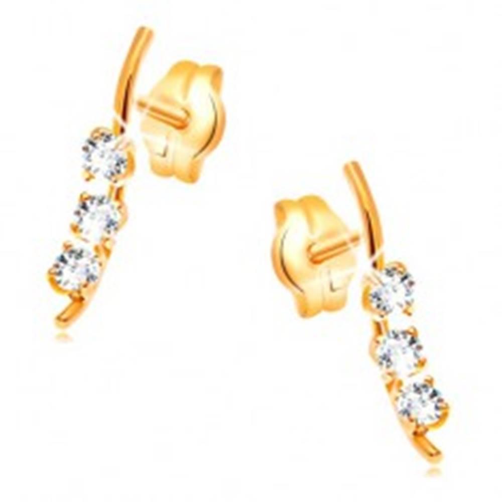 Šperky eshop Zlaté náušnice 585 - úzka vlnka s tromi zirkónmi čírej farby