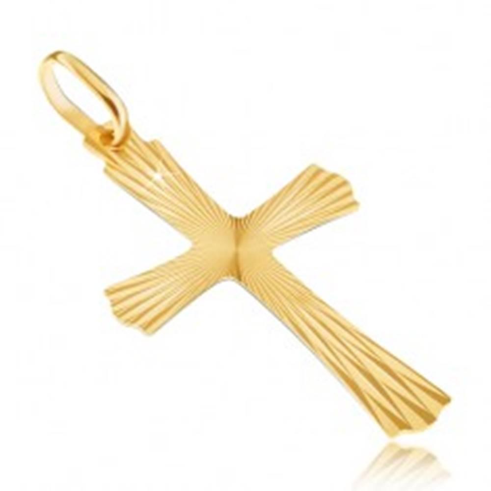 Šperky eshop Zlatý 14K prívesok - lúčovitý kríž so zvlnenými koncami