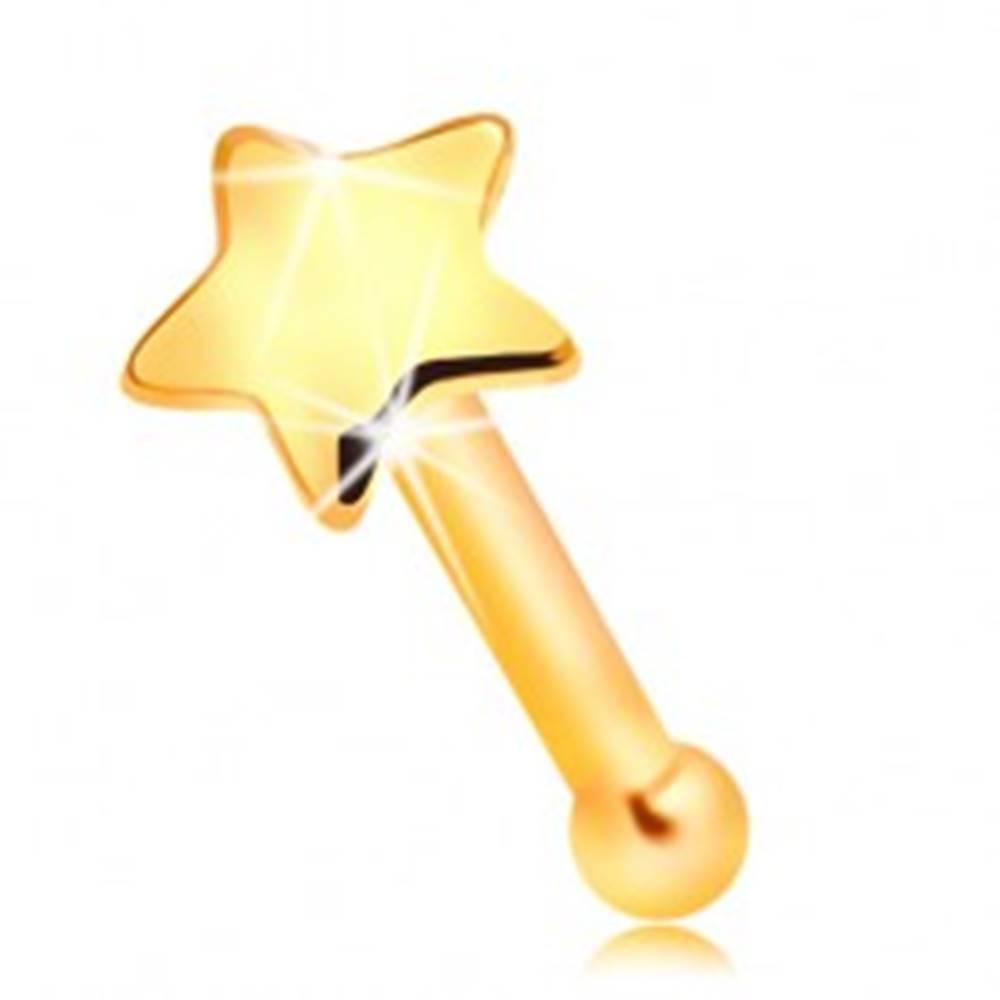 Šperky eshop Zlatý 585 piercing do nosa - malá lesklá hviezdička, rovný tvar