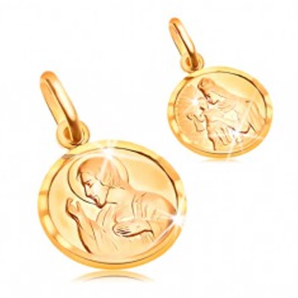 Šperky eshop Zlatý okrúhly prívesok 585 - Ježiš a svätá Matka v rámčeku