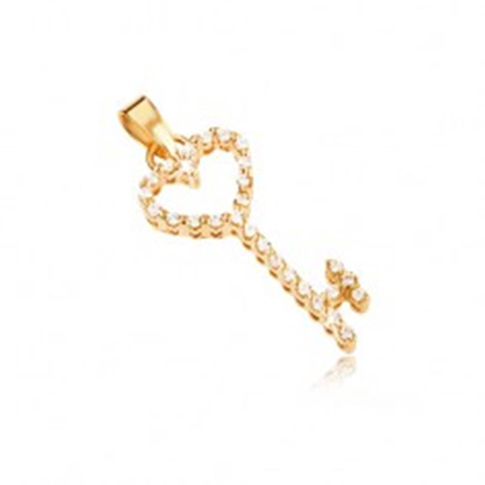 Šperky eshop Zlatý prívesok 585 - srdcový kľúč vykladaný čírymi zirkónmi