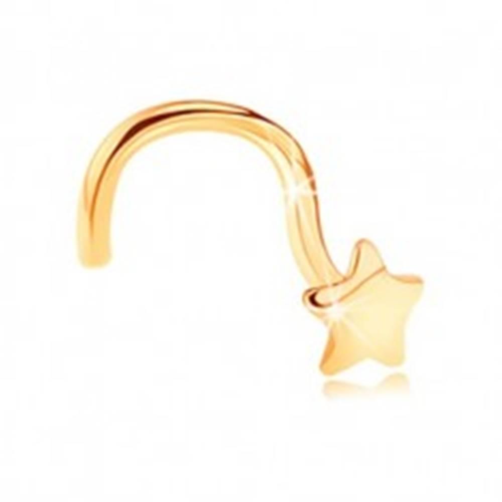 Šperky eshop Zlatý zahnutý piercing do nosa 585 - lesklá päťcípa hviezdička