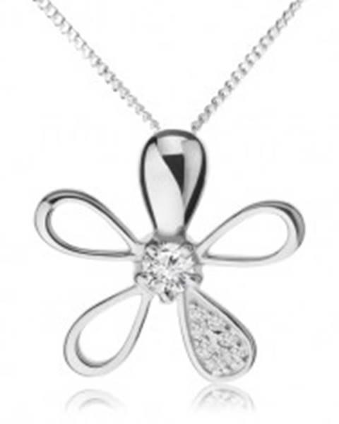 Šperky eshop Nastaviteľný náhrdelník zo striebra 925, kvietok s rôznymi lupeňmi