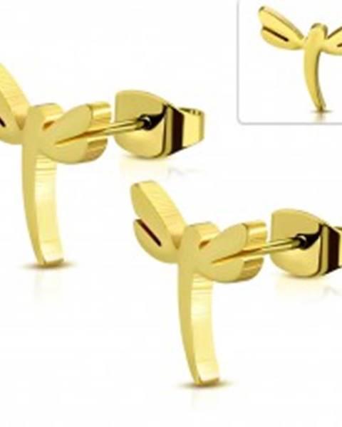 Šperky eshop Puzetové oceľové náušnice v zlatom odtieni, lesklá vážka