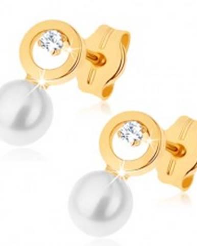Náušnice v žltom 9K zlate - kontúra kruhu s čírym zirkónikom, biela perla