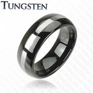 Čierna obrúčka z tungstenu, pás striebornej farby, zaoblený povrch, 8 mm - Veľkosť: 49 mm