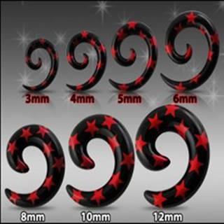 Čierny expander do ucha - špirála s červenými hviezdami - Hrúbka: 10 mm