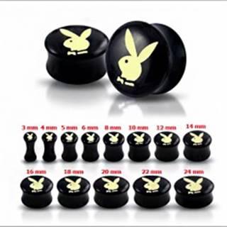 Čierny sedlový plug do ucha s maslovo-žltým zajacom - Hrúbka: 10 mm