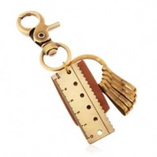 Kľúčenka v mosadznom odtieni, hnedý kožený pás, prívesok v podobe pravítka