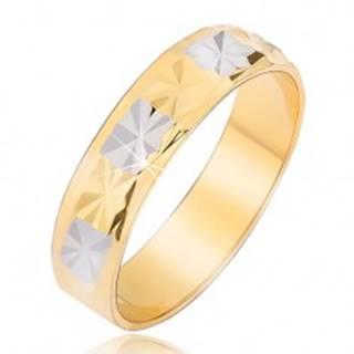 Lesklá obrúčka s diamantovým vzorom zlato-striebornej farby - Veľkosť: 49 mm