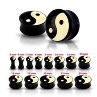 Lesklý čierny plug do ucha so symbolom Jin a Jang - Hrúbka: 10 mm