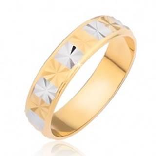 Lesklý prsteň - obdĺžniky s diamantovým rezom - Veľkosť: 48 mm
