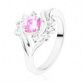 Lesklý prsteň s úzkymi ramenami v striebornej farbe, ružový zirkón, číry oblúk - Veľkosť: 51 mm