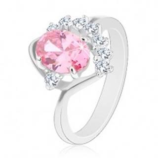 Lesklý prsteň so zahnutým ramenom, ružový ovál, zirkónový číry oblúk, oblúčik - Veľkosť: 49 mm
