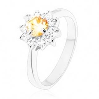 Ligotavý prsteň s úzkymi ramenami, okrúhly oranžový zirkón s čírymi lupeňmi - Veľkosť: 49 mm