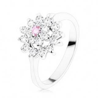 Ligotavý prsteň - úzke lesklé ramená, ružovo-číry kvietok v zirkónovom kruhu - Veľkosť: 49 mm