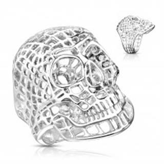 Masívny oceľový prsteň v striebornom odtieni, sieťovaná lebka - Veľkosť: 58 mm