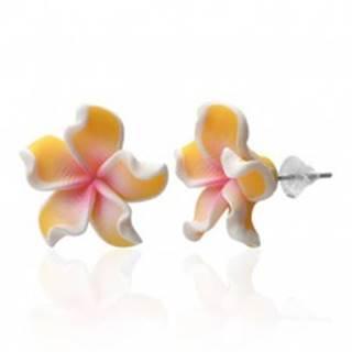 Náušnice Fimo - Plumeria, žlté zvlnené lupienky
