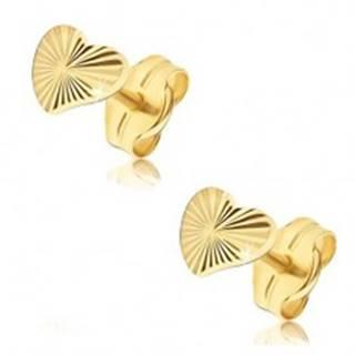 Náušnice v žltom 14K zlate - nepravidelné trblietavé srdcia, lúčovité ryhy