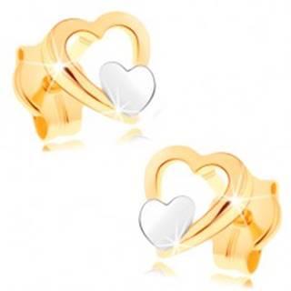 Náušnice zo 14K zlata - lesklý obrys srdca, malé ploché srdiečko v bielom zlate