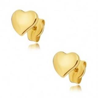 Náušnice zo žltého 14K zlata - ploché zrkadlovolesklé nesúmerné srdce