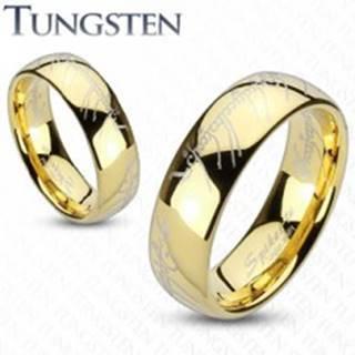 Obrúčka z tungstenu, zaoblený povrch v zlatej farbe, motív Pána prsteňov, 6 mm - Veľkosť: 49 mm