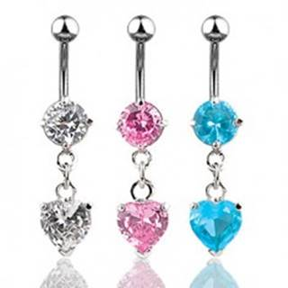 Oceľový piercing do bruška, trblietavé zirkónové srdiečko - Farba zirkónu: Aqua modrá - Q