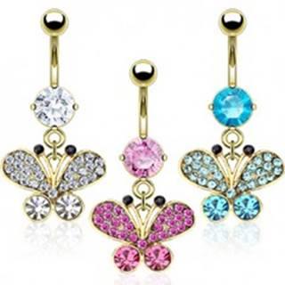 Oceľový piercing do pupku v zlatej farbe, zirkónový motýľ, čierne konce tykadiel  - Farba zirkónu: Aqua modrá - Q