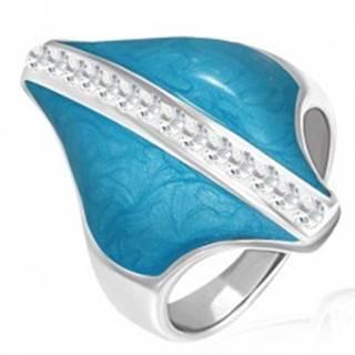 Oceľový prsteň - modrý kosoštvorec, zirkónový pás - Veľkosť: 54 mm