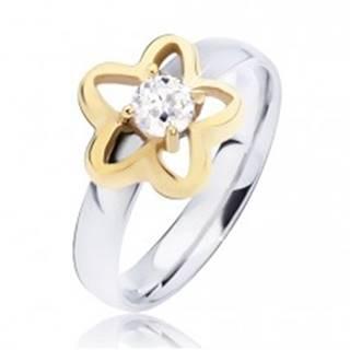 Oceľový prsteň, obrys hviezdy zlatej farby s čírym okrúhlym zirkónom - Veľkosť: 49 mm