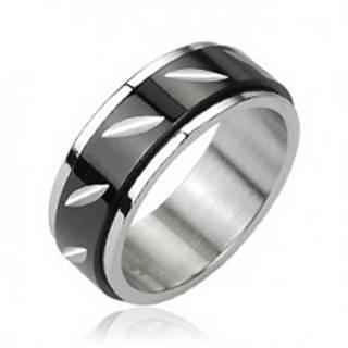 Oceľový prsteň s otáčavým čiernym stredom - zárezy - Veľkosť: 58 mm