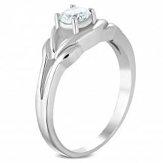Oceľový prsteň striebornej farby, číry zirkón, rozdelené ramená - Veľkosť: 49 mm