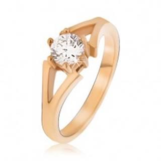 Oceľový prsteň zlatej farby, rozvetvujúce sa ramená, číry kamienok - Veľkosť: 49 mm