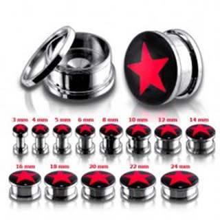 Oceľový tunel plug do ucha, červená hviezda - Hrúbka: 10 mm